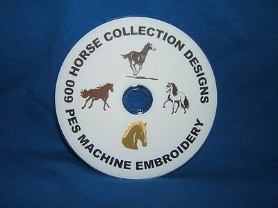600 pes machine embroidery horse designs on cd / dvd disc