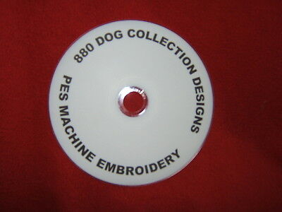 880 pes machine embroidery dog designs on cd / dvd disc