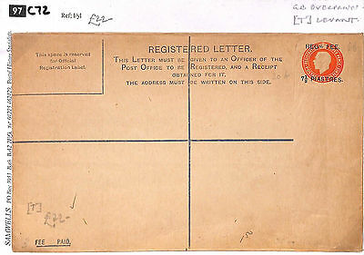 C72 1920s BRITISH LEVANT GB Overprint Registered Letter Postal Stationery Cover