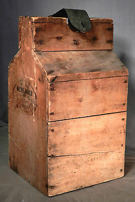 1876 Stencil Crate Square Nail Demijohn Box G W Banker Cherry Wood  Wine Bottle