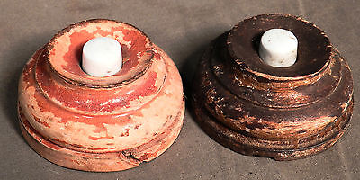 Two Antique Porcelain Turned Wood Bell Push Doorbell Button early Steam Punk OLD