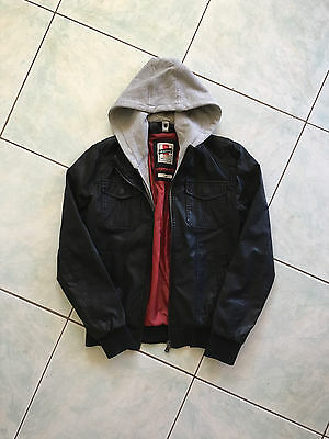 Mens Black Jacket Grey Hoodie Leather The Acedemy Brand Size Small Outwear Coat