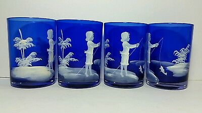 MARY GREGORY Glass Lot of 4 Tumblers Hand Painted Drinking Glasses Cobalt Color