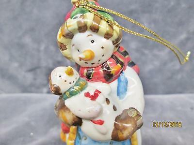 FROM THE 80's CUTE CERAMIC SNOWMAN & BABY PROUD TO BE GRANDMA CHRISTMAS ORNAMENT