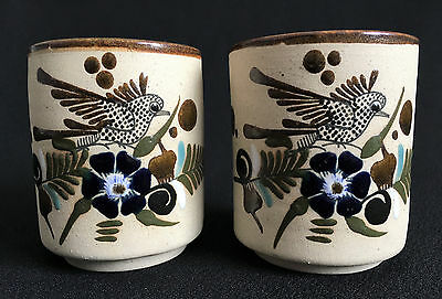 Mexican Stoneware Pottery Set Of (2) Mugs Cups Birds Flowers Mexico RS
