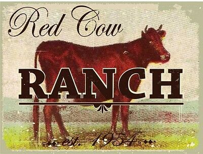 Red Cow Ranch Farm Animal Dairy Country Rustic Nature Metal Sign