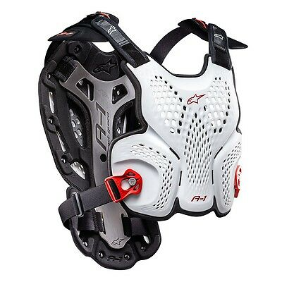 New Adult Alpinestars BNS A1 Body Armour Chest Protector Motocross White XL/XXL