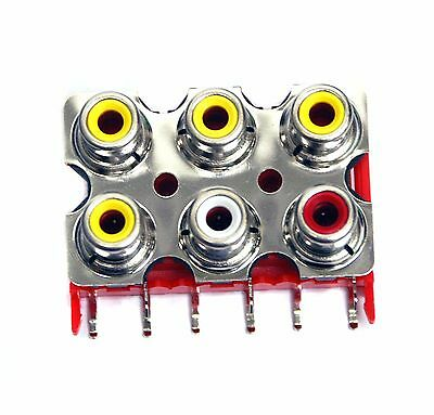 5pc RCA Jack x6 Female Connector Set Vertical PCB pin ABS Nickel HLR-0246V4B-1