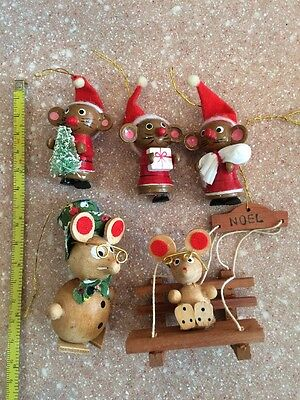 5  VINTAGE WOODEN WOOD CHRISTMAS MICE MOUSE Ornament