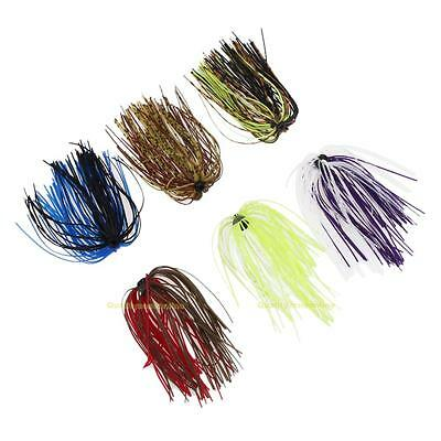6 Bundles 50 Strands Silicone Skirts Salty Rubber Jig Lures Squid Fishing Bait