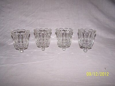 4 Clear Glass Tulip Shaped Vtg Home Interior Votive Cup Candle Holders