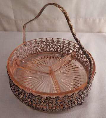 Pink Glass Three Compatrment Relish Tray With Ornate Metal Basket and Handle