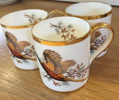 Pretty Hammersley gold coffee cups and saucers x 5 (+ 1 cup) Pheasant pattern