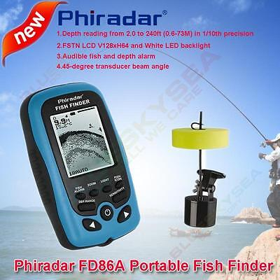 Phiradar FD86A 240ft Portable Wired Fish Finder Sonar Audible fish&Depth Alarm