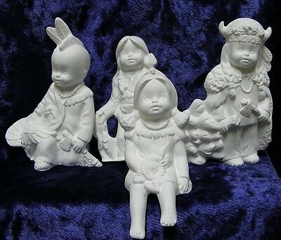 Ceramic Bisque Ready to Paint 4 x Native American Indian Small Children