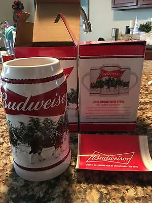 New 2016 Budweiser Annual Holiday Stein New In Box December Excursion
