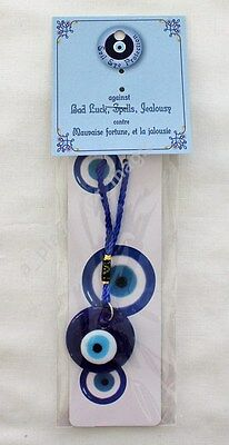 NEW Evil Eye Protection 1.5 Inch Round Cobalt Blue Glass Talisman