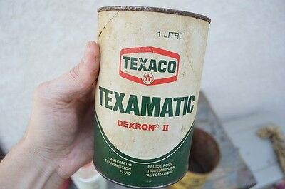 Vintage 1 Quart Texaco Texamatic Fluid Paper Label Old Oil can Sign Gas Station