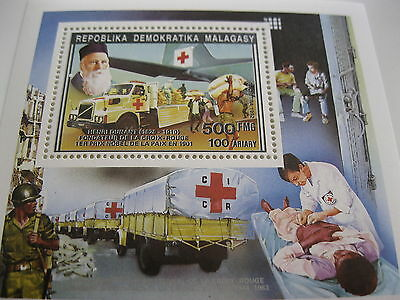 Madagascar-1992-events & famous people-red cross,Dunant--BL.195