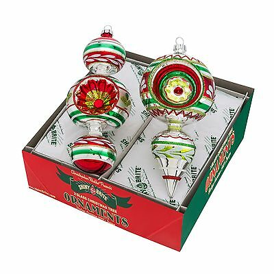 Radko Shiny Brite 2 Count Holiday Splendor Large Decorated Shape Ornaments