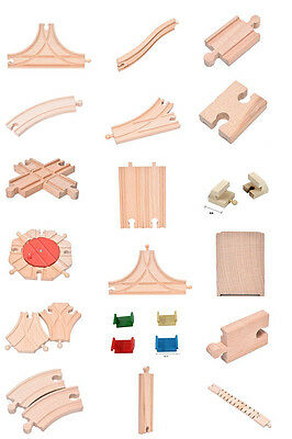 Wooden Train Track Pack Engine Tank Railway Accessories Compatible Xmas Gift 0ha
