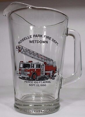 Vintage Fire Department Fire Fighter Roselle Park New Jersey Beer Pitcher Rare