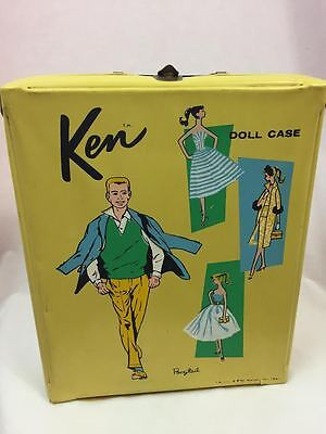 Vintage 1961 Ken Barbie Doll Case, Yellow