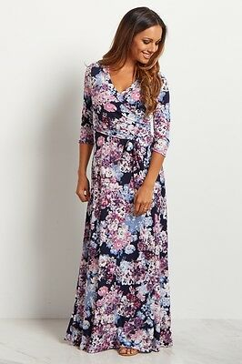 WORN ONCE Pink Blush Maternity Maxi Dress Floral Navy Blue Abstract Sash Tie