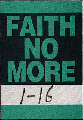 Faith No More  ORIGINAL Tour Backstage Cloth Pass - Stage Crew used Mike Patton