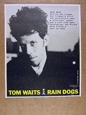 1985 Tom Waits photo Rain Dogs album release promo vintage print Ad