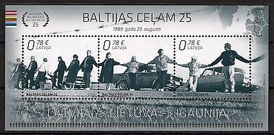 Latvia 2014 - Baltic Way 25 Years Anniversary Block - 3 Official Postage Mnh** S