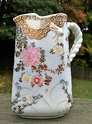 Lovely Antique Porcelain Cream Pitcher~Floral & Bees w/Rope Style Handle~5 3/4""