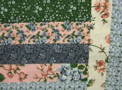 King Size Log Cabin Rose/Black Cheater Quilt Top 90 x 108 (3 Yards)