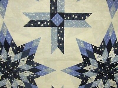 **NEW**  King Size Lonestar Blue Cheater Quilt Top 90 x 108 (3 Yards)