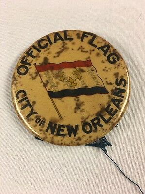 """RARE Vintage Pin, """"OFFICIAL FLAG, CITY OF NEW ORLEANS"""""""