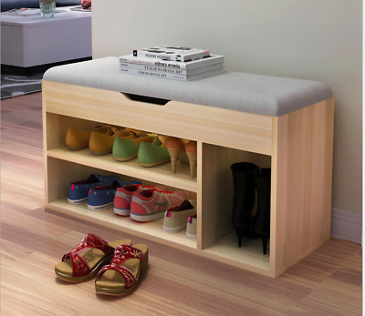 Wooden Shoe Cabinet Rack Chest Organiser Bench leather/fabric Top 5 Colours