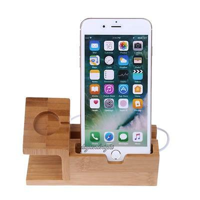 Wood Bamboo Charging Dock Charger Holder Station for iPhone 5S 6 6S 7 for iWatch