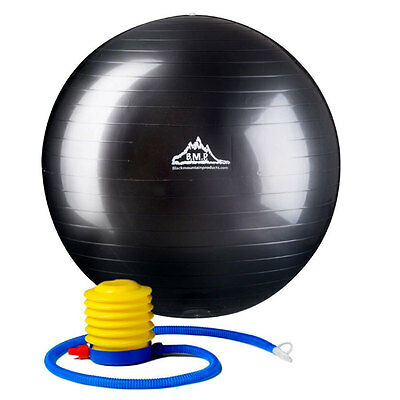 Black Mountain Products 55cm Anti-Burst Stability Ball with Pump - Black
