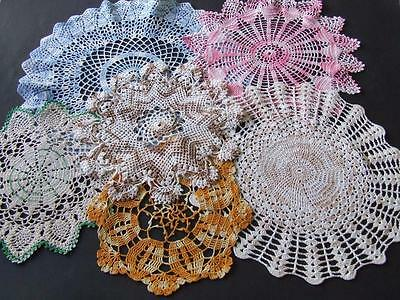 An Assortment of Six Hand Crocheted Centres & Doilies - Variegated Colours
