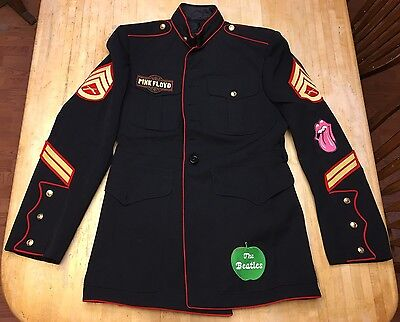 Mens Beatles & Pink Floyd Rock & Roll Home Made Wool Military Jacket Size Medium