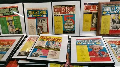 20 + 1950s COUNTRY SONG ROUND / FOLK  COUNTRY  MAGAZINES  FRAMED.