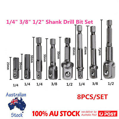 "8Size Socket Adapter Set Driver Hex Shank Drill Bits1/4"" 3/8"" 1/2"" Impact Driver"