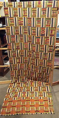 Kente Cloth, Half Men's Size, Ashanti, Ghana Narrow Strip Weaving, Vintage