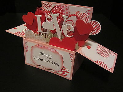 Handmade  3D Valentines  Card in a box -Linked Hearts, PERSONALISED