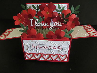 Handmade  3D Valentine's Card in a box -Red roses, PERSONALISED