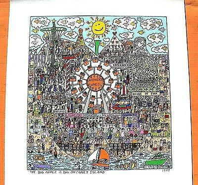 Farblithographie James Rizzi 1999 : 2D The big apple is big on Coney Island