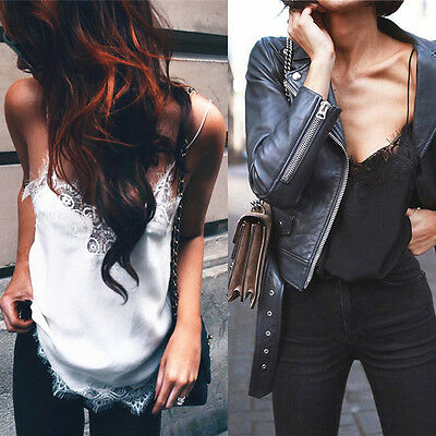 Sexy Women Chiffon Blouse Lace Patchwork Camisole V-neck Sleeveless Crop Tops