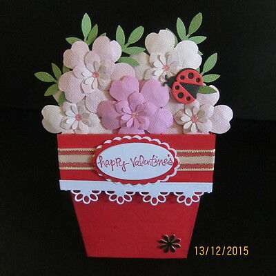 Handmade 3D Valentine's Day Card -Flower pot card, PERSONALISED