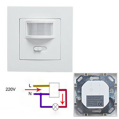 AC 220V 160° Infrared PIR Motion Sensor Recessed Wall Lamp Bulb Switch