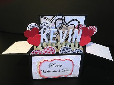 Handmade  3D Valentines/ birthday Card in a box -Linked Hearts, PERSONALISED